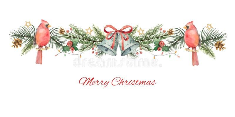 Bandera de la Navidad del vector de la acuarela con las ramas del abeto, el cardenal del pájaro y las campanas ilustración del vector