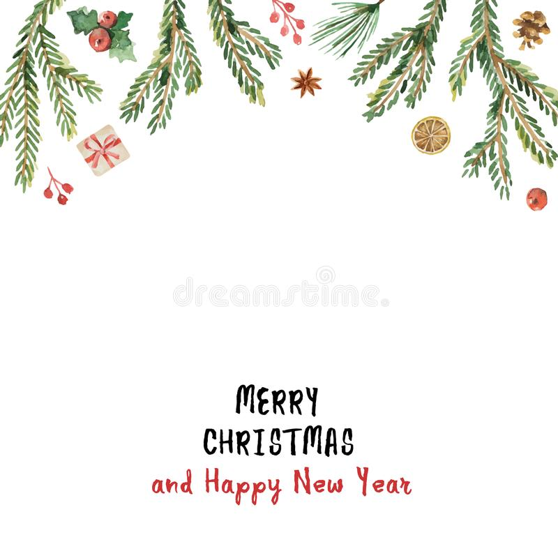 Bandera de la Navidad del vector de la acuarela con las ramas y el lugar del abeto para el texto libre illustration