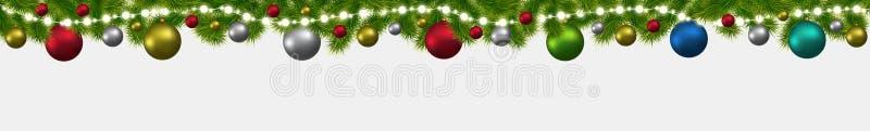 Bandera de la Navidad y del Año Nuevo con los abetos, las guirnaldas y las luces que brillan intensamente libre illustration