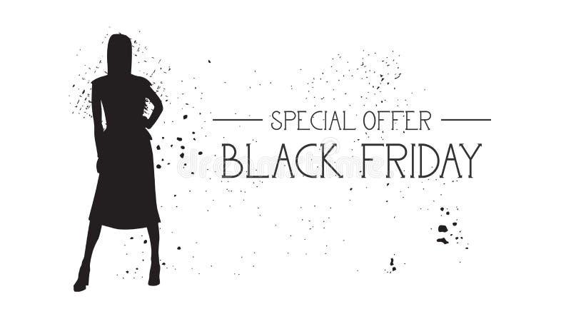 Bandera de la oferta especial de Black Friday con el fondo de goma del blanco de Female Silhouette On del modelo de moda del Grun ilustración del vector