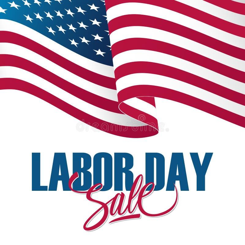 Bandera de la oferta especial de la venta del Día del Trabajo con agitar la bandera nacional americana Fondo del día de fiesta pa libre illustration