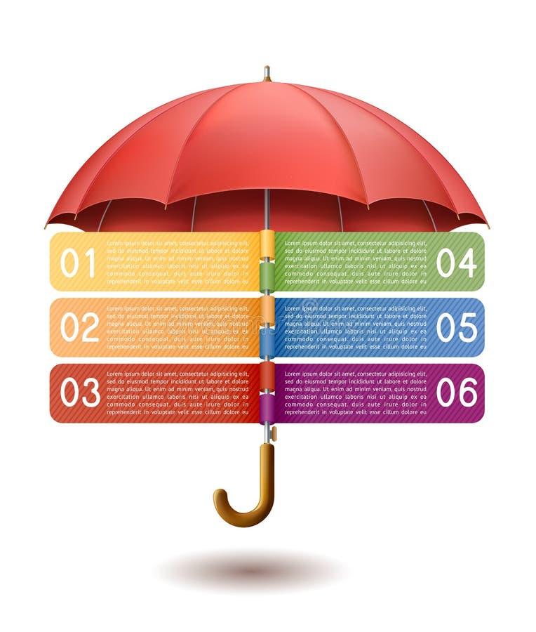 Bandera de la opción con el paraguas rojo ilustración del vector