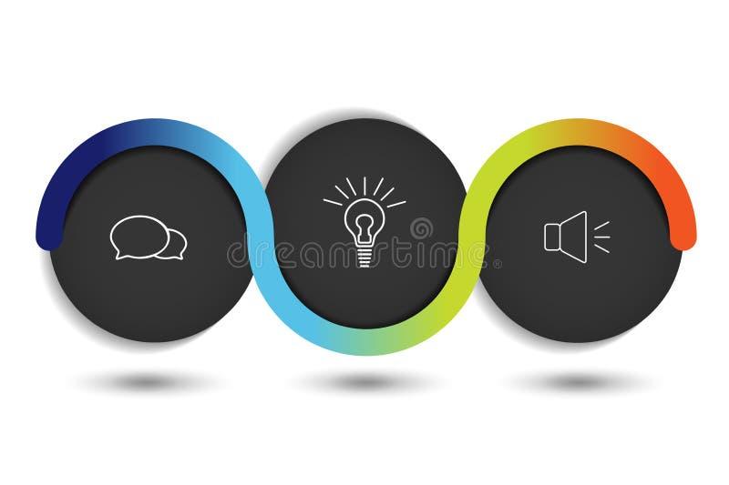 Bandera de la opción del vector de Infographic con 3 pasos Esferas del color, bolas, burbujas libre illustration