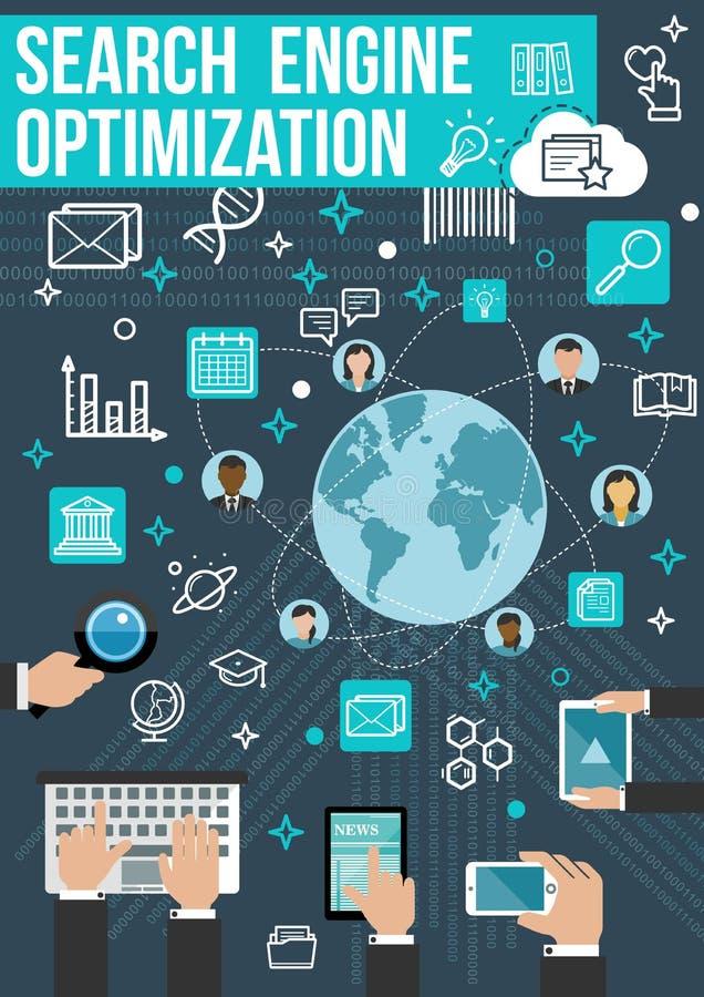 Bandera de la optimización de SEO Diseño de negocio del web ilustración del vector