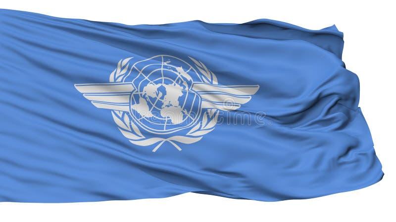 Bandera de la Organización de la Aviación Civil Internacional de Icao, aislada en blanco ilustración del vector