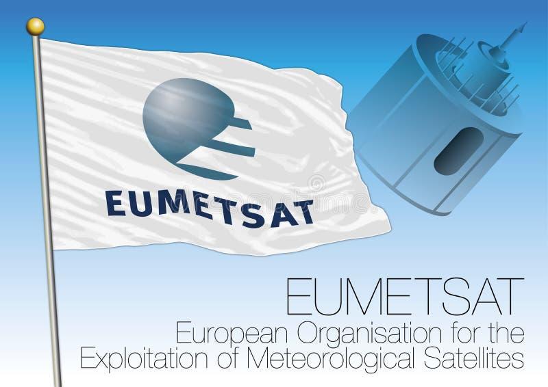 Bandera de la organización de Eumetsat y diseño estilizado de Meteosat stock de ilustración