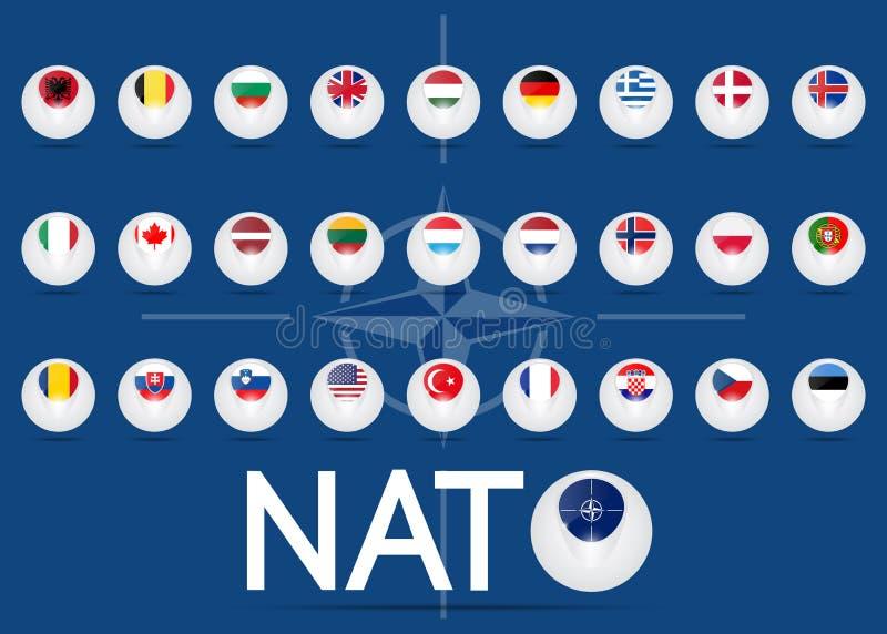 Bandera de la Organización del Tratado del Atlántico Norte ilustración del vector