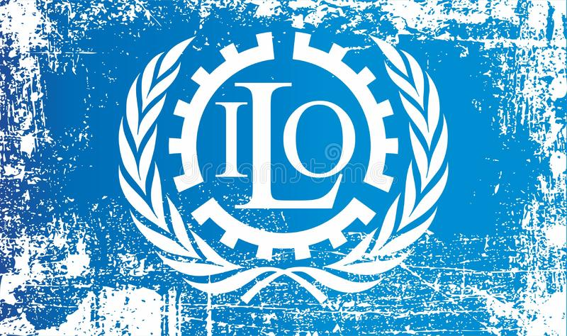 Bandera de la Organización Internacional del Trabajo Puntos sucios arrugados ilustración del vector