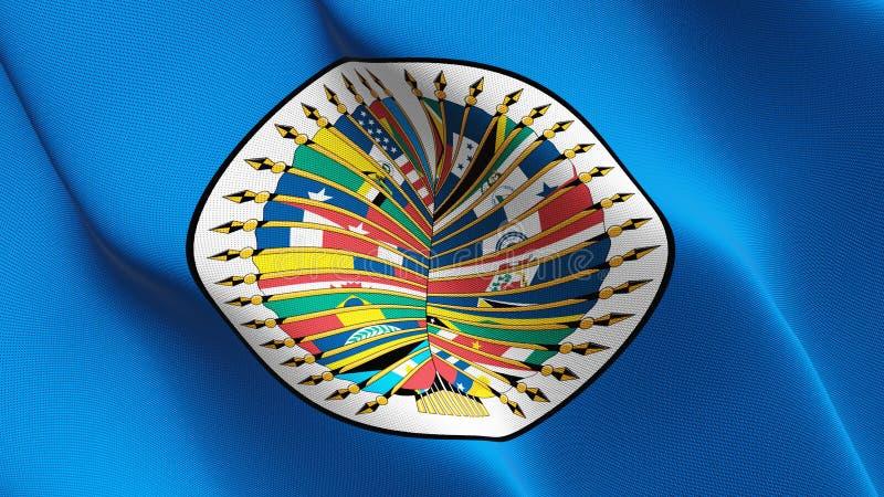 Bandera de la Organización de los Estados Americanos que agita en el viento libre illustration