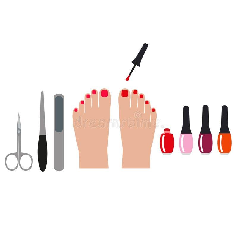 Bandera de la pedicura con los pies y los clavos femeninos ejemplo coloreado para su negocio stock de ilustración
