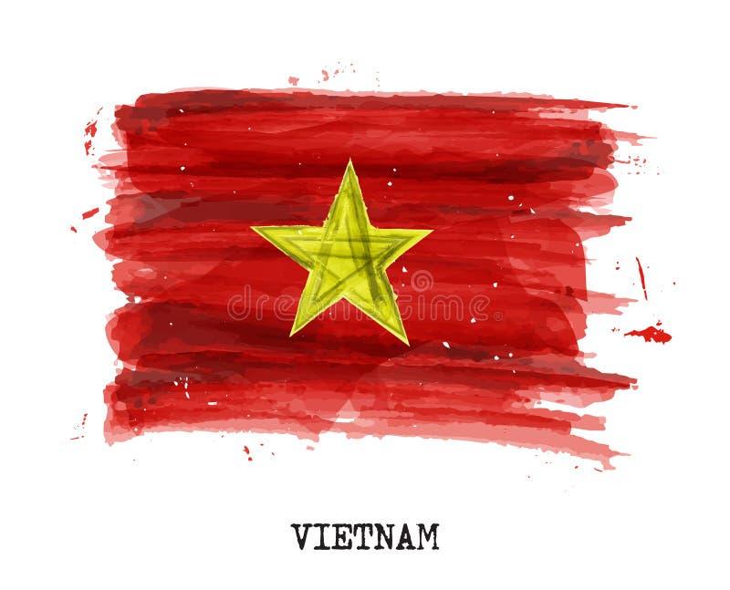 Bandera de la pintura de la acuarela de Vietnam Vector stock de ilustración