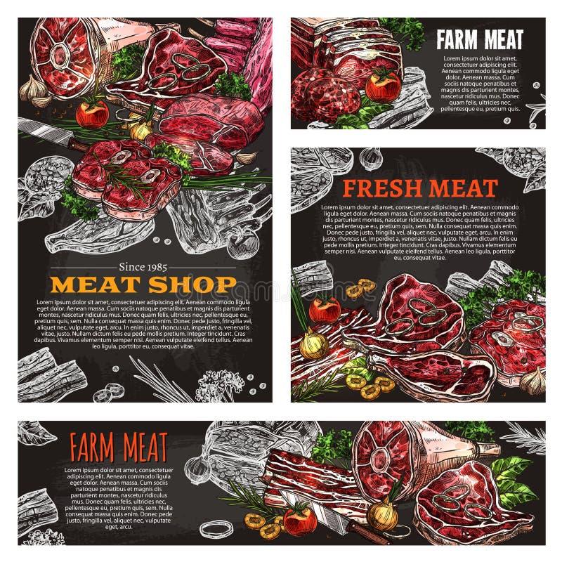 Bandera de la pizarra del producto de carne para la carnicería stock de ilustración