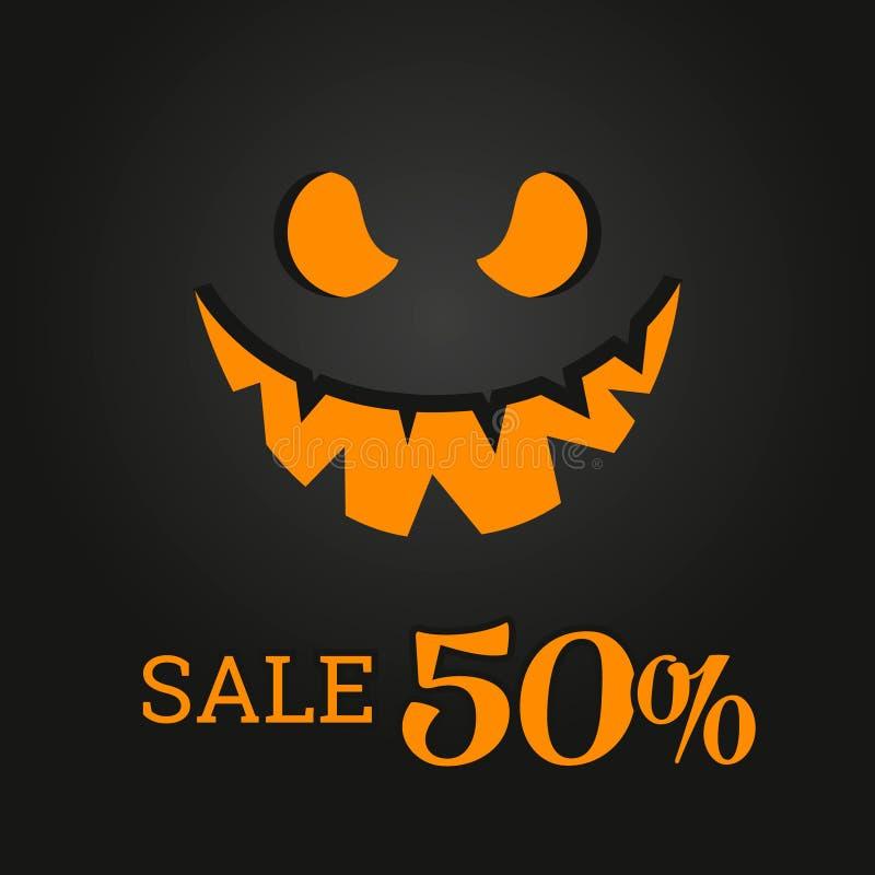 Bandera de la plantilla de Halloween en estilo moderno plano Plantilla colorida para las ventas ilustración del vector