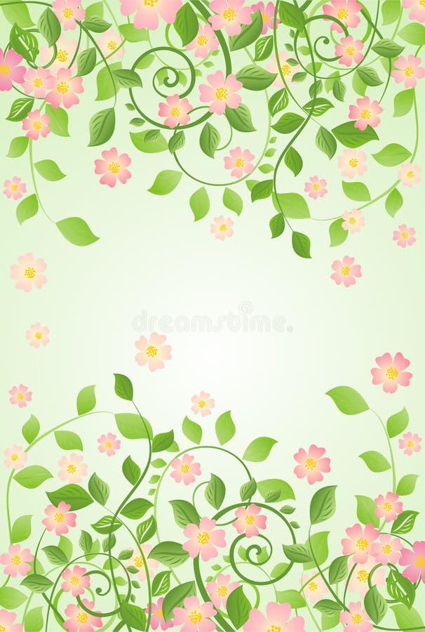 Bandera de la primavera con el flor del Apple-árbol libre illustration