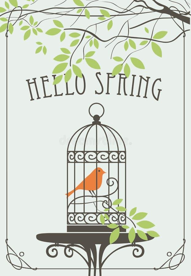 Bandera de la primavera con el pájaro en jaula debajo del árbol verde libre illustration
