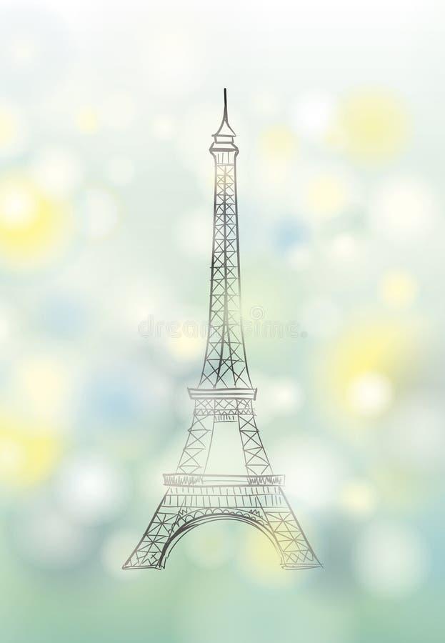 Bandera de la primavera de París Torre Eiffel Cartel de Francia del viaje ilustración del vector