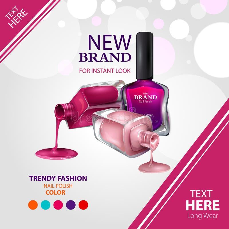 Bandera de la promoción del anuncio para la moda colorida de moda del esmalte de uñas libre illustration