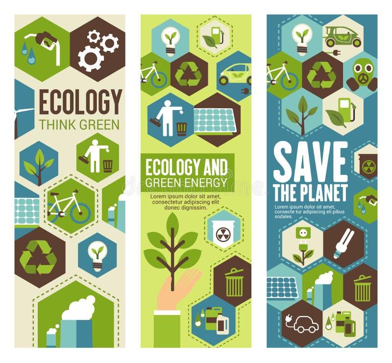 Bandera de la protección del medio ambiente para el concepto del eco libre illustration