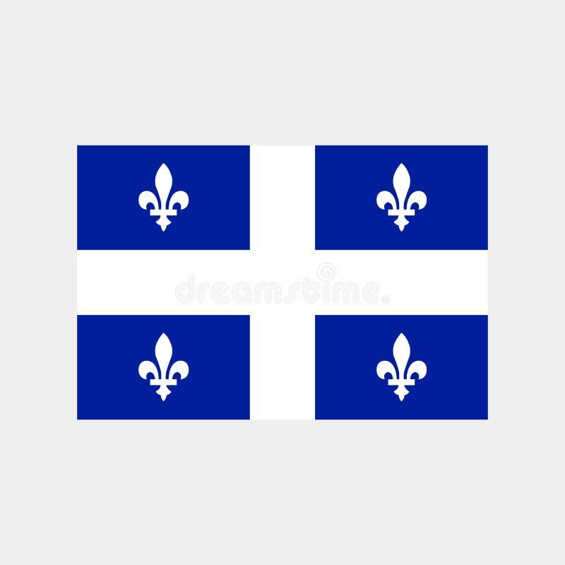 Bandera de la provincia canadiense de Quebec en tamaño, proporciones y colores correctos Ilustración del vector ilustración del vector