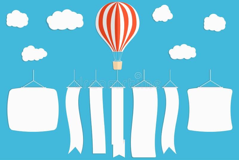Bandera de la publicidad del vuelo Globo del aire caliente con las banderas verticales en fondo del cielo azul stock de ilustración