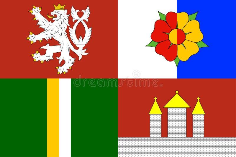 Bandera de la región de Bohemia meridional en la República Checa ilustración del vector