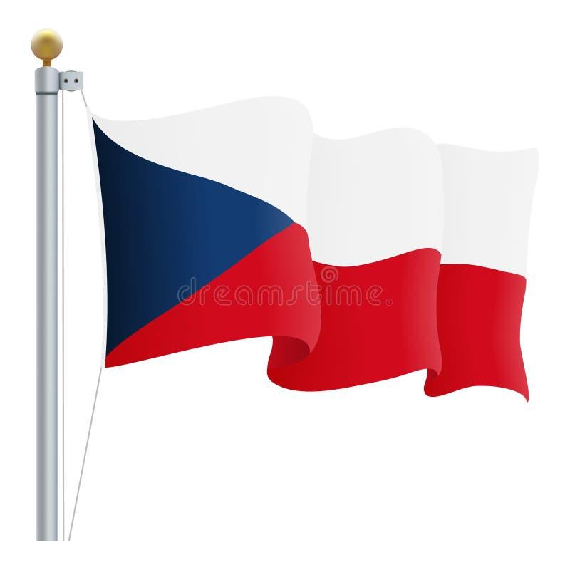 Bandera de la República Checa que agita aislada en un fondo blanco Ilustración del vector stock de ilustración