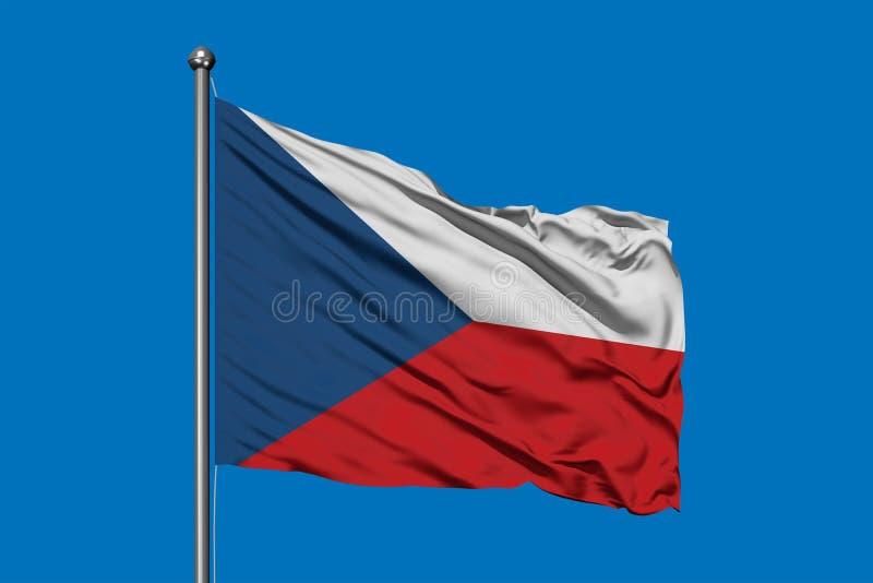 Bandera de la República Checa que agita en el viento contra el cielo azul profundo Indicador checo libre illustration