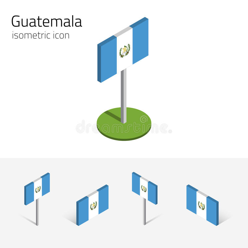 Bandera de la República de Guatemala, sistema del vector del icono plano isométrico 3D ilustración del vector