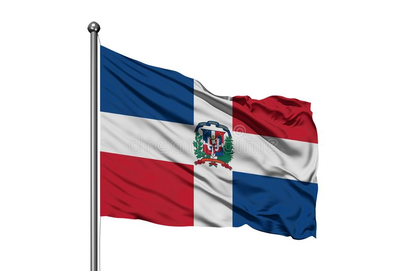 Bandera de la República Dominicana que agita en el viento, fondo blanco aislado Bandera dominicana stock de ilustración
