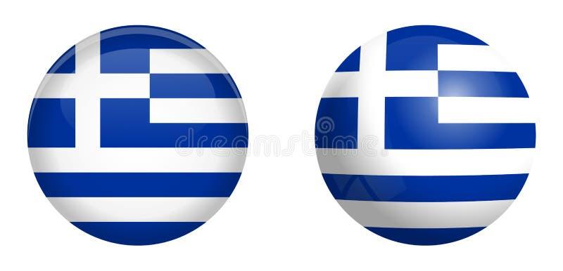 Bandera de la República Helénica Grecia debajo del botón de la bóveda 3d y en esfera/bola brillantes ilustración del vector