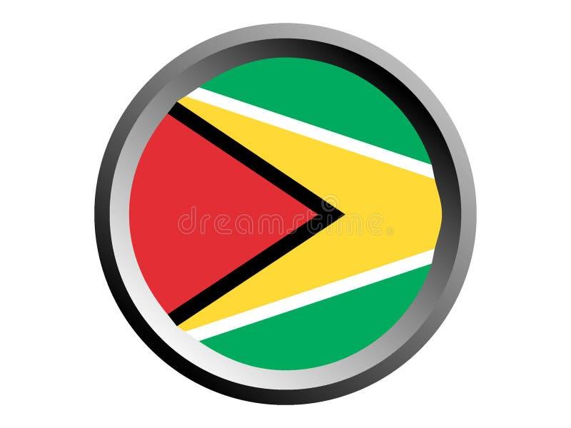 bandera de la ronda 3D de Guyana ilustración del vector