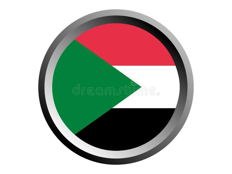 bandera de la ronda 3D de Sudán ilustración del vector