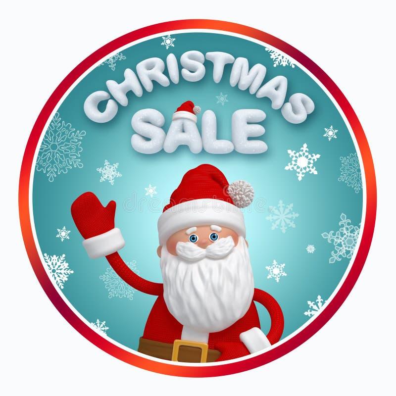 Bandera de la ronda de venta de la Navidad con Santa Claus ilustración del vector