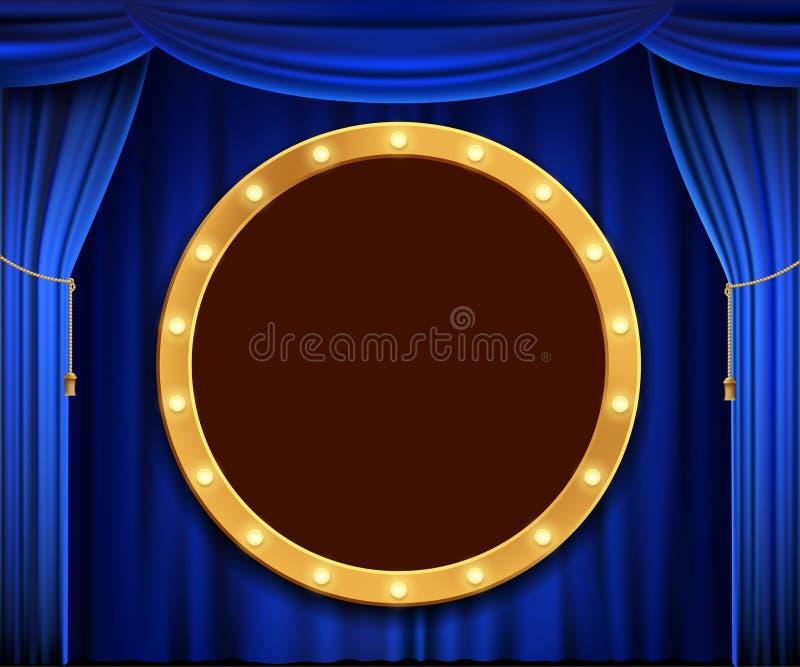 Bandera de la ronda del oro con las bombillas ilustración del vector