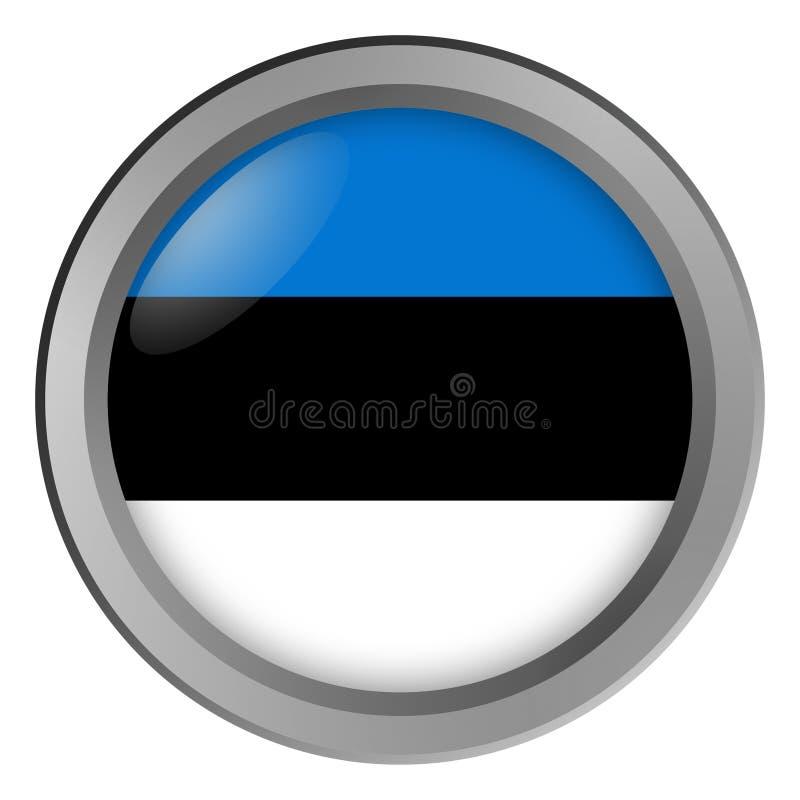 Bandera de la ronda de Estonia como botón stock de ilustración