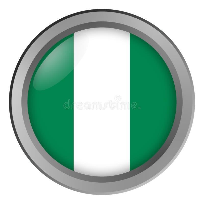 Bandera de la ronda de Nigeria como botón ilustración del vector