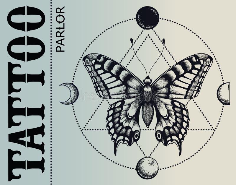Bandera de la sala del tatuaje La mariposa de Mistical está inscrita en el círculo de las fases de la luna Ejemplo para la escuel ilustración del vector