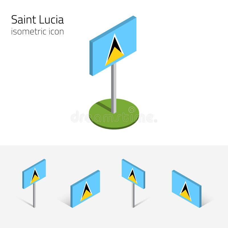 Bandera de la Santa Lucía, sistema del vector de los iconos isométricos 3D ilustración del vector