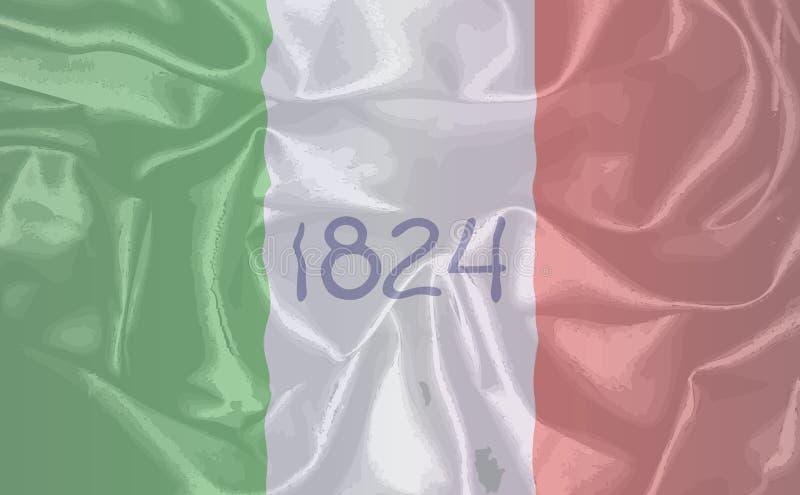Bandera de la seda de Álamo stock de ilustración