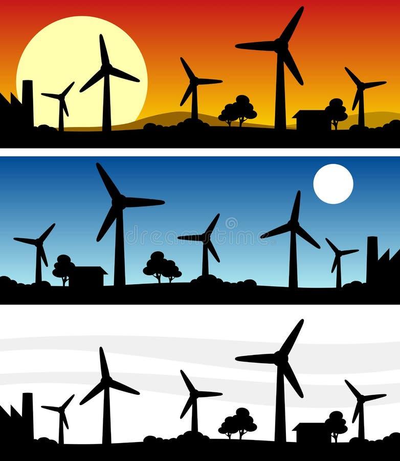 Bandera De La Silueta De Las Turbinas De Viento Imágenes de archivo libres de regalías