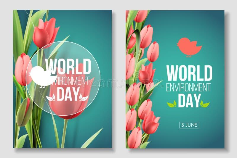 Bandera de la tarjeta del día del ambiente mundial en el fondo verde con los tulipanes de las flores Coral de vida del color 5 de ilustración del vector