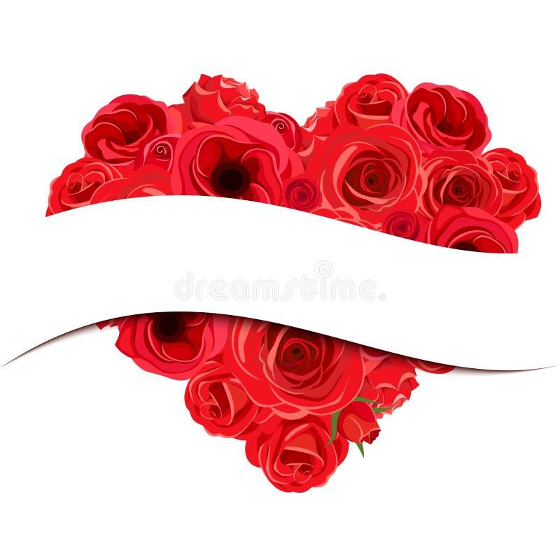 Bandera de la tarjeta del día de San Valentín con el ramo del corazón de las rosas Ilustración del vector stock de ilustración