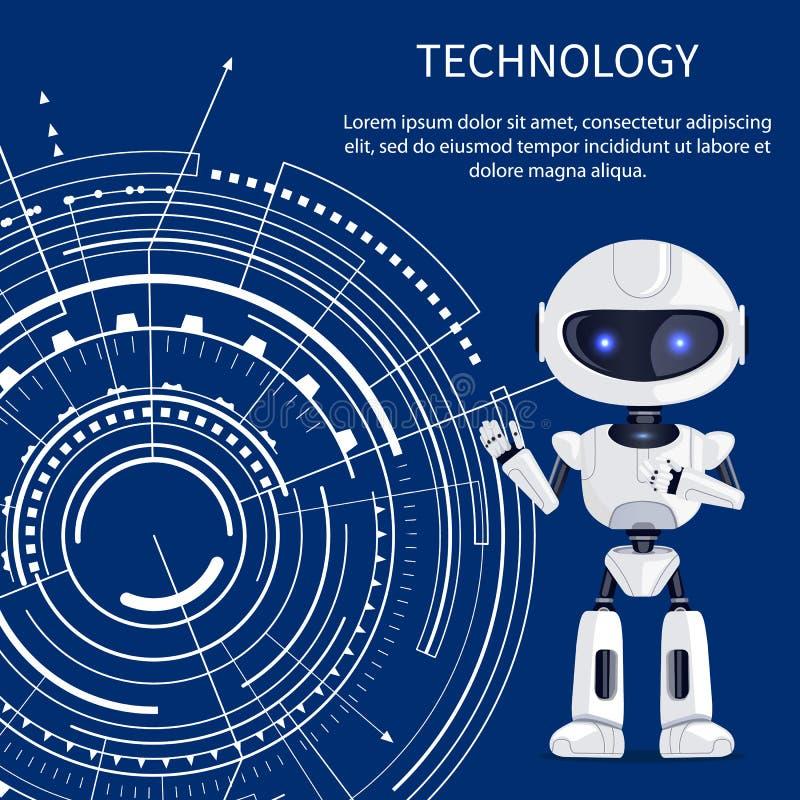 Bandera de la tecnología con el Cyborg y el interfaz blanco stock de ilustración