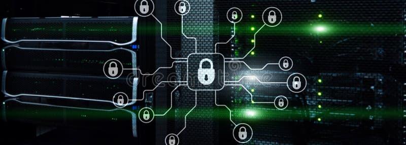 Bandera de la tecnolog?a Seguridad cibern?tica, protecci?n de datos, privacidad de la informaci?n Concepto de Internet y de la te stock de ilustración
