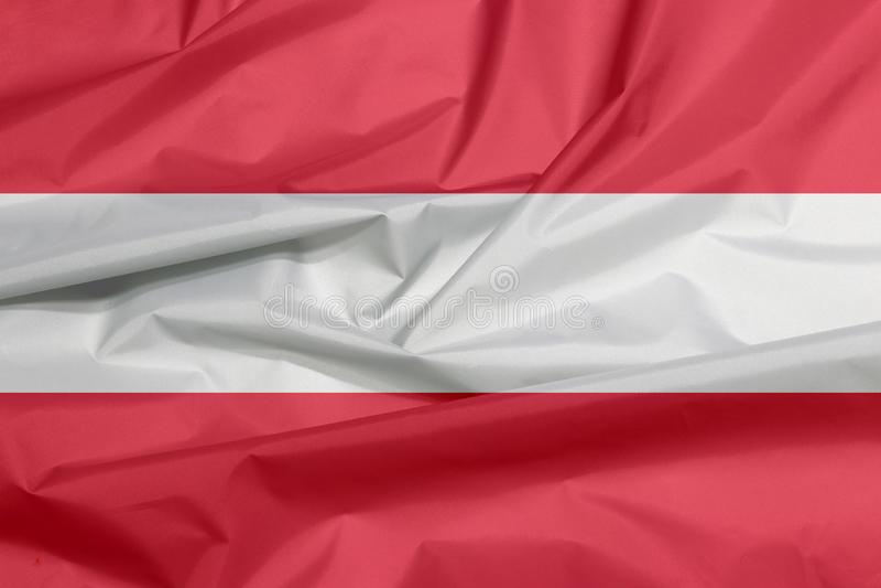 Bandera de la tela de Austria Pliegue del fondo austríaco de la bandera ilustración del vector