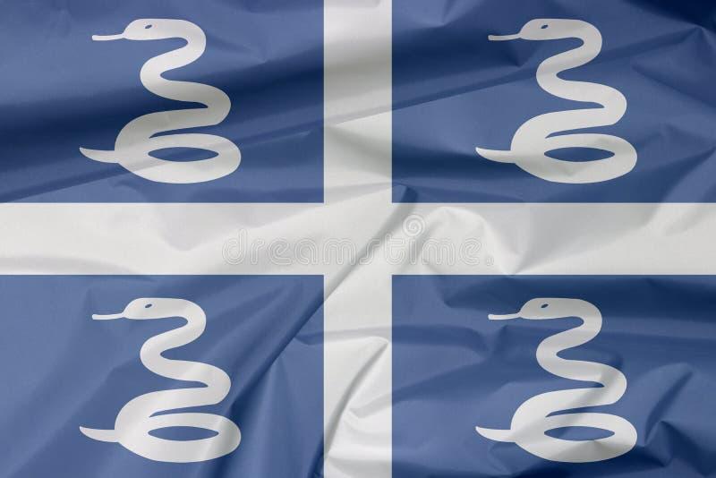 Bandera de la tela de Martinica Pliegue del fondo de la bandera de Martinica stock de ilustración
