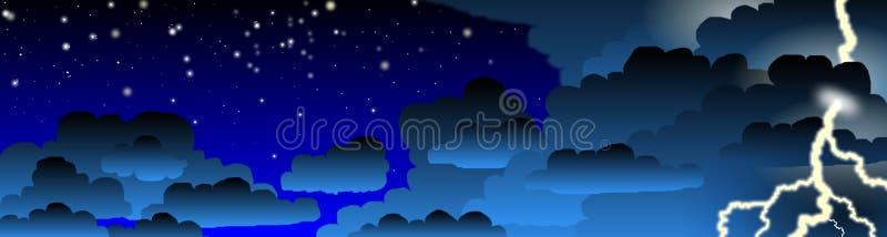 Bandera de la tempestad de truenos de la noche stock de ilustración