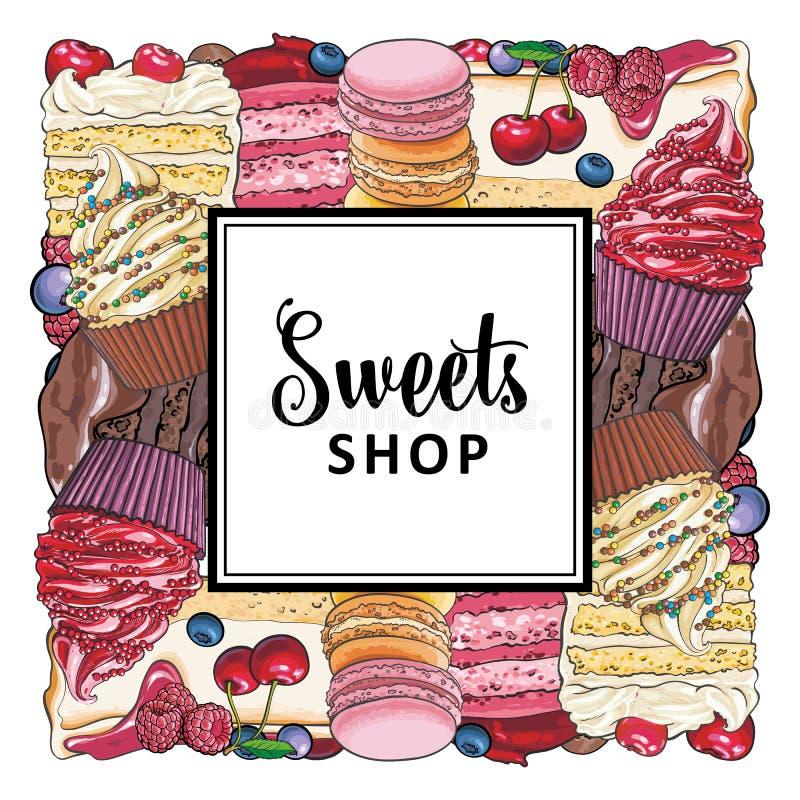Bandera de la tienda del caramelo con las empanadas, las magdalenas y las galletas adornadas con las bayas recogidas en forma cua libre illustration