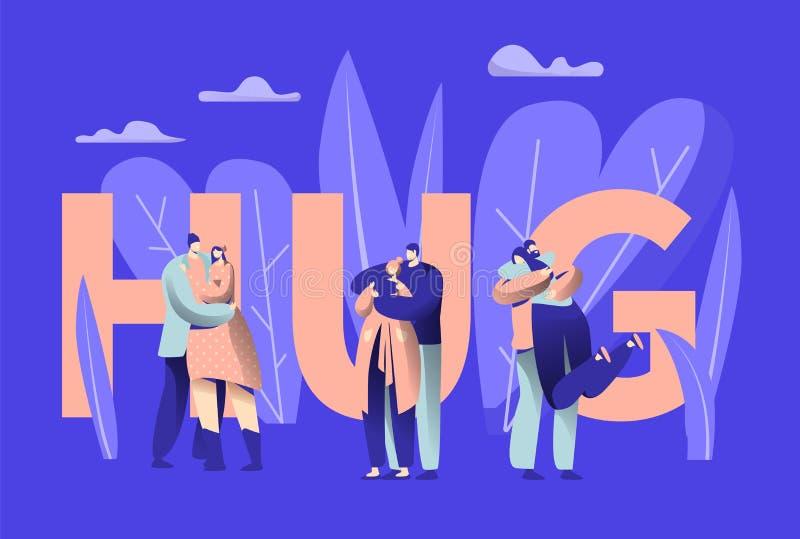 Bandera de la tipografía del abrazo del carácter de los pares del amor Forma de vida romántica de la relación del amante feliz Ho libre illustration