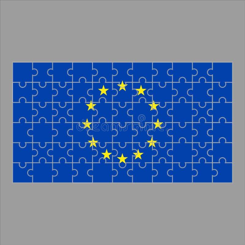 Bandera de la UE de rompecabezas en un fondo gris ilustración del vector